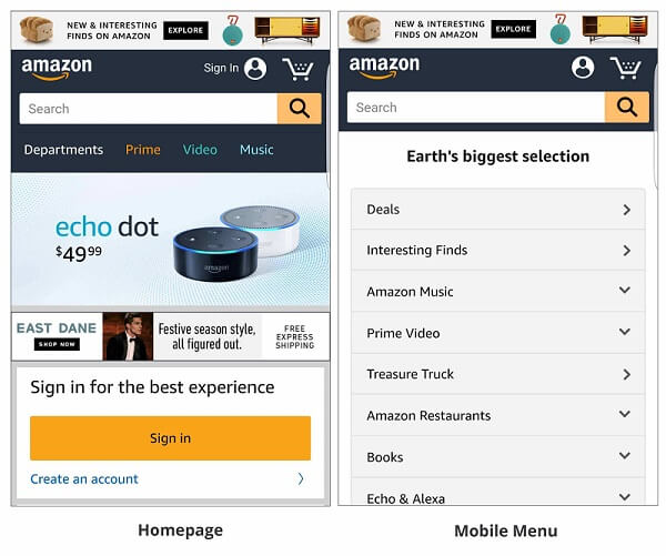 amazon in mobile